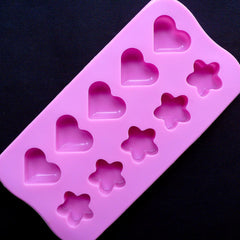 Heart & Flower Silicone Mould (10 Cavity) | Food Safe Chocolate Mould | Kawaii Resin Cabochon Mold | Embellishment Mold | Mini Soap Mold | Wax Mould