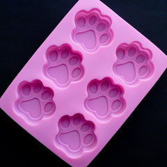 Kawaii Paw Silicone Mold (6 Cavity) | Resin Charm Making | Decoden Cabochon Mold | Animal Mould | Soap Mold | Food Safe Mold | Epoxy Resin Mold (57mm x 52mm)