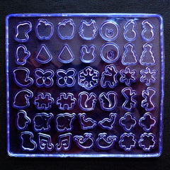 Assorted UV Resin Silicone Molds (42 Cavity) | Clear Soft Molds | Fruit Animal Christmas Ribbon Puzzle Flower Fish Music Flexble Mould