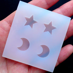 Star & Moon Silicone Molds (4 Cavity) | Clear UV Resin Soft Mould | Kawaii Flexible Molds | Epoxy Resin Jewelry Making