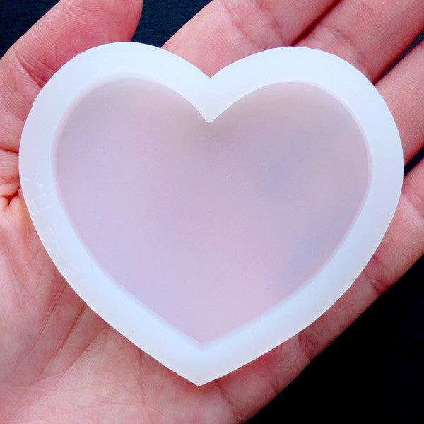 Heart Flexible Mold | Epoxy Resin Silicone Mould | Heart Cabochon Mold | Decoden Supplies (57mm x 50mm)