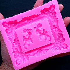 Victorian Frame Silicone Mold (3 Cavity) | Ornate Scroll Embellishment Mold | Epoxy Resin Mould | Food Safe Fondant Mold | Gumpaste Mold