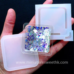 Square Shaker Charm Mold | Bezel Mold for Waterfall Charm DIY | Kawaii Liquid Resin Piece Making | Decoden Cabochon Mold (50mm)