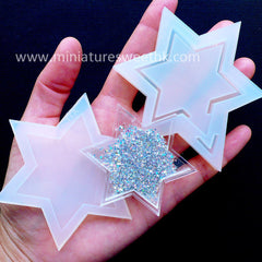Liquid Shaker Mold | Star of David Bezel Mold for Waterfall Shaker Charm Making | Kawaii Epoxy Resin Crafts | Decoden Supplies (50mm x 59mm)