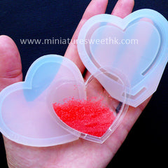 Shaker Mold in Heart Shape | Waterfall Resin Charm Making | Bezel Mold for Liquid Cabochon DIY | Kawaii Craft Supplies | Epoxy Resin Art (59mm x 51mm)