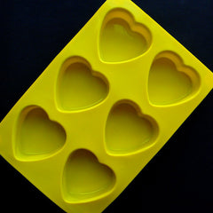 Flexible Heart Mold (6 Cavity) | Epoxy Resin Cabochon Making | Soap Mold | Food Safe Silicone Mold | Valentine's Day Decor | Wedding Party Supplies (72mm x 70mm)