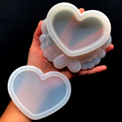 Kawaii Heart Trinket Box Mold | Winged Heart Container Silicone Mould | Resin Jewelry Box DIY | Magical Girl Craft Supplies (12cm x 10.5cm)