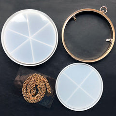 Round Shaker Bag Silicone Mold with Findings | Clear Clutch Handbag DIY | Kawaii Resin Accessory Making (18cm)
