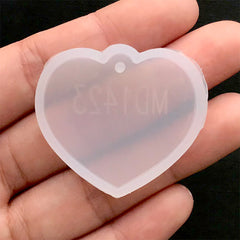 Heart Tag Silicone Mold | UV Resin Clear Mold | Resin Charm Mould | Kawaii Resin Craft Supplies (35mm x 32mm)
