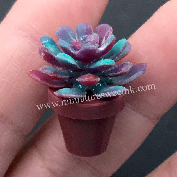 Succulent Plant Silicone Mold | 3D Dollhouse Flower Mold | Miniature Art Supplies | UV Resin Craft (22mm x 10mm)