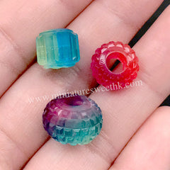 DEFECT Big Hole Bead Silicone Mold (3 Cavity) | Fluted Bead Rondelle Bead DIY | 4mm European Bead Making | Resin Jewellery Supplies