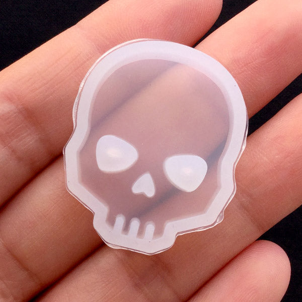 Skull Mold | Halloween Silicone Mold | Epoxy Resin Mold | Soft Clear Mold for UV Resin Craft | Decoden Supplies (23mm x 28mm)