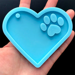 Heart with Paw Silicone Mold | Resin Keychain DIY | Pet Jewelry Making | Resin Craft Supplies (88mm x 75mm)