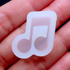 Flexible Music Mold | Beamed Note Mould | Musical Symbol Silicone Mould | Music Note Resin Cabochon DIY | UV Resin Mould | Kawaii Resin Jewelry Making | Decoden Supplies (20mm x 19mm)