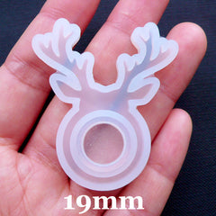 Deer Horn Resin Ring Mold | Christmas Reindeer Jewellery | Kawaii Ring Mould in Antler Shape | Flexible Mold Supplies | Whimsical Jewelry Mold | UV Resin Silicone Mold | Epoxy Resin Crafts (Size 19mm)