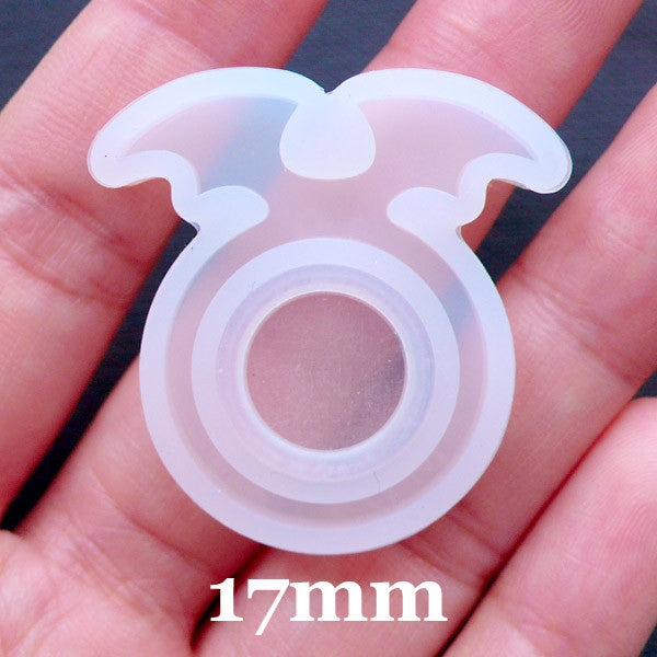 Devil Wing Ring Mold | Kawaii Goth Jewellery Mold | Gothic Lolita Jewelry Mould | Flexible UV Resin Mold | Epoxy Resin Silicone Mould | Halloween Resin Ring DIY (Size 17mm)
