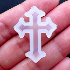 Latin Cross Mould | Christmas Flexible Silicone Mold | Kawaii Goth Jewelry | Halloween Creepy Cute Decoden | UV Resin Craft | Religion Christian (20mm x 28mm)