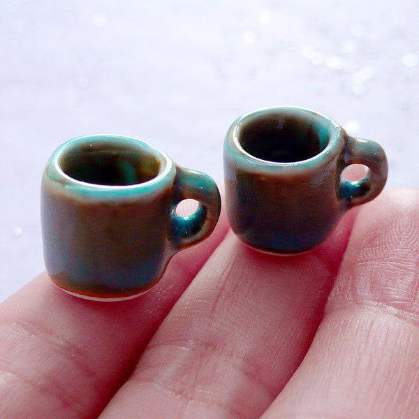 Dollhouse Pottery Coffee Mugs | Miniature Porcelain Coffee Mug | Mini Ceramic Tableware | Doll House Food Crafts (2 pcs / Blue with Turquoise / 13mm x 13mm)