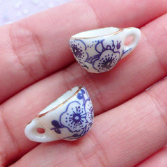 Dollhouse Ceramic Tea Cups with Floral Pattern | Miniature Porcelain Coffee Cup | Doll House China Tableware | Mini Doll Food Jewelry DIY (2 pcs / White, Blue & Gold / 13mm x 9mm)
