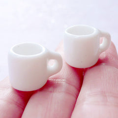 Dollhouse White Ceramic Coffee Mugs | Miniature Porcelain Coffee Cups | Doll Food Crafts | Fake Mini Food Making (2 pcs / 12mm x 12mm)