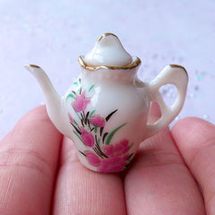 Doll House Ceramic Teapot Vase with Flower Pattern | Miniature Pottery Tableware | Dollhouse Porcelain Tea Pot (1 Piece / 35mm x 29mm)