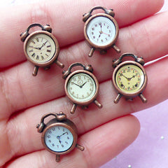 Miniature Alarm Clock | Dollhouse Furniture | Doll House Room Item (Antique Bronze / 1 piece by Random / 11mm x 16mm)