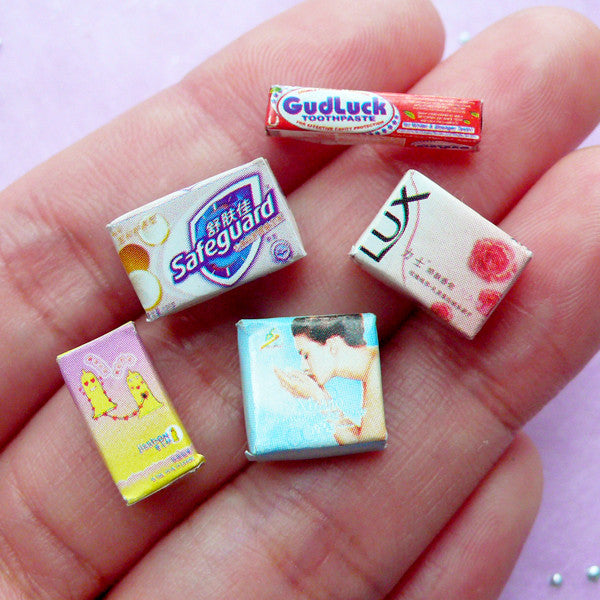 Dollhouse Toiletries | 1:12 Scale Miniature Soap Toothpaste Condom | Doll House Personal Care Products (Set of 5pcs)