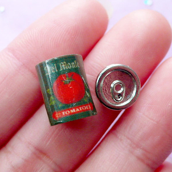 1:12 Scale Dollhouse Food Can | Miniature Tomato Can with Removable Lid | Doll House Food Craft (9mm x 14mm)