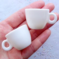 Miniature Coffee Cup in 1:3 Scale | Dollhouse Teacup | Doll Food Craft | Alice in Wonderland Afternoon Tea Party Jewelry Making (2pcs / White / 41mm x 25mm)