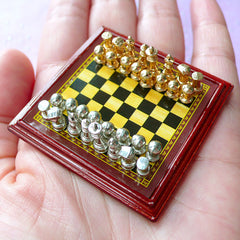 Miniature Dollhouse Chess Set | 1:12 Scale Doll House Chessboard & Pieces (48mm x 48mm)
