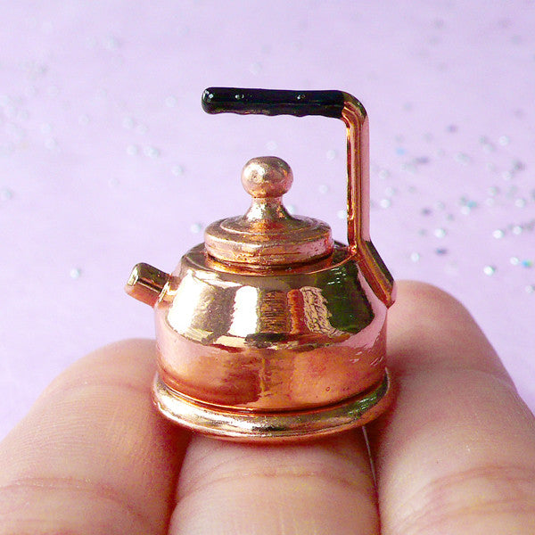 Dollhouse Tea Kettle | 1:12 Scale Miniature Kitchen Utensil | Doll House Cookware (22mm x 26mm)