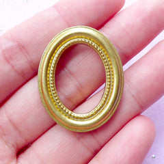 Miniature Painting Frame | Dollhouse Oval Picture Frame | 1:12 Scale Doll House Decoration (Antique Gold / 25mm x 31mm)
