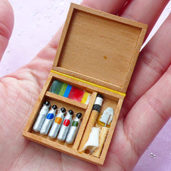 Dollhouse Miniature Artist Paint Box | Doll House Oil Paint Set (Color, Brush & Tool)