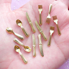 Dollhouse Cutlery in Gold Color | Miniature Spoon, Fork & Knife | Doll House Tableware (Set of 12pcs)