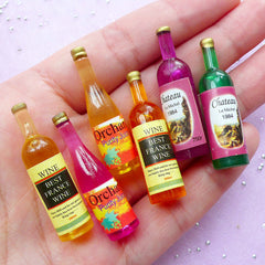 Dollhouse Miniature Wine Bottle Mix | Assorted Doll House Alcoholic Beverage (3 pcs by Random)