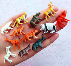 Miniature Wild Animal | Terrarium & Fairy Garden Supplies | Tiny Mini Animal Toy in 3D | Bonsai Decoration (12pcs / Tiger Lion Zebra Panda Reindeer Elephant Camel Rhinoceros Hippo Giraffe Polar Bear Leopard)
