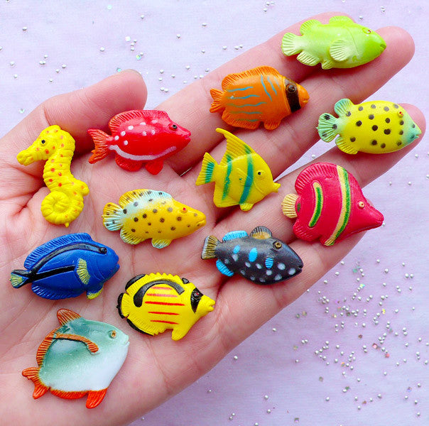 Small Tropical Fishes | Little Fish Cabochons | Fish Tank Terrarium Making (12pcs)