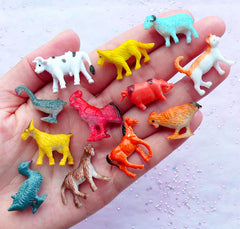 Miniature Dollhouse Farm Animal | Fairy Garden Supplies | Terrarium DIY | Baby Shower Table Scatter (12pcs / Chicken Duck Goose Cow Goat Horse Cat Dog Pig Sheep)