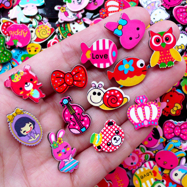 Acrylic Cabochon Assortment | Kawaii Decoden Cabochon Supplies | Cute Embellishments (10 pcs by Random)