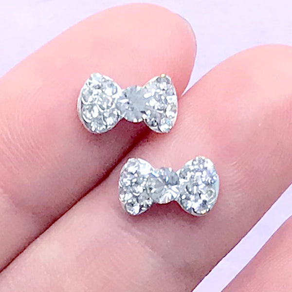 Tiny Bowtie Bow Cabochon (2pcs) (Silver w/ Clear Rhinestones) Fake Miniature Cupcake Topper Earring Making Nail Art Decoration NAC067