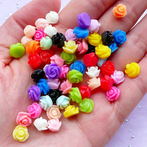 Assorted Tiny Rose Cabochons | 3D Flower Nail Art Design | Mini Floral Decoden Pieces (4pcs by Random / 7mm x 5mm / Mixed Colors)