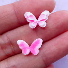Pink Butterfly Cabochon for Nail Art Design | Tiny Mini Embellishments (2pcs / 13mm x 9mm)