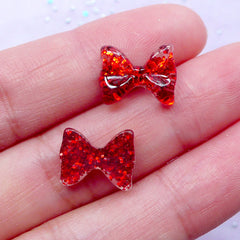 Mini Red Bow Cabochon with Glitter | Bling Bling Nail Art & Kawaii Decoden (3pcs / 12mm x 10mm)