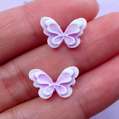Pastel Purple Butterfly Cabochon for Spring Nail Design | Mini Insect Embellishments (2pcs / 13mm x 9mm)