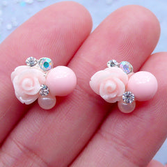 Baby Pink Flower Nail Charms with Rhinestones | Floral Nail Art | Kawaii Nail Designs | UV Resin Art | Mini Embellishments | Stud Earrings Making (2pcs / 13mm x 10mm)