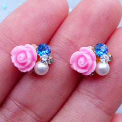Floral Nail Charms with Rhinestones | Flower Nail Art | Kawaii Nail Deco | UV Resin Craft | Tiny Embellishments | Stud Earrings DIY (2pcs / 12mm x 8mm)