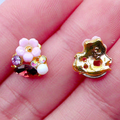 Sakura Nail Charms with Rhinestones | Tiny Mini Cherry Blossom Cabochon | Flower Nail Designs | Floral Nail Decoration | UV Resin Crafts | Nail Art Supplies (2pcs / Purple / 9mm x 9mm)