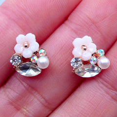 Cherry Blossom Nail Charms with Rhinestones | Tiny Mini Sakura Cabochon | Floral Nail Designs | Flower Nail Deco | UV Resin Art | Nail Art Supplies (2pcs / Cream White / 9mm x 9mm)
