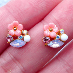Sakura Nail Art Charms with Rhinestones | Cherry Blossom Nail Design | Mini Floral Embellishments | Tiny Flower Cabochon | UV Resin Craft (2pcs / Pink / 9mm x 9mm)
