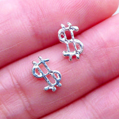 Dollar Sign Nail Charms | Money Sign Floating Charm | Kitsch Nail Art | Nail Decorations | Mini Embellishments for UV Resin Crafts (2pcs / Silver / 5mm x 9mm)